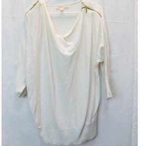 Michael Kors White Blouse W/ Shoulder Gold Zipper